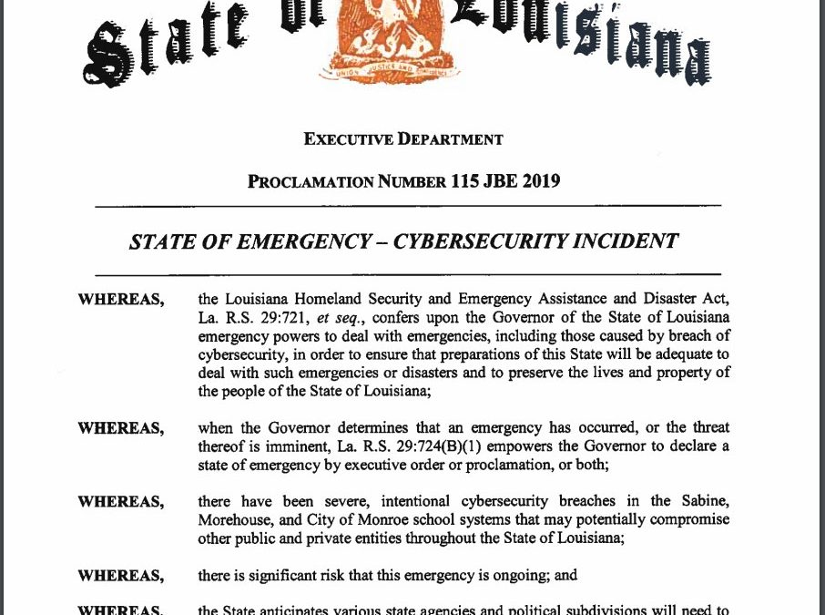Ransomware Causes Delay in Start of School Year and State of Emergency Declaration